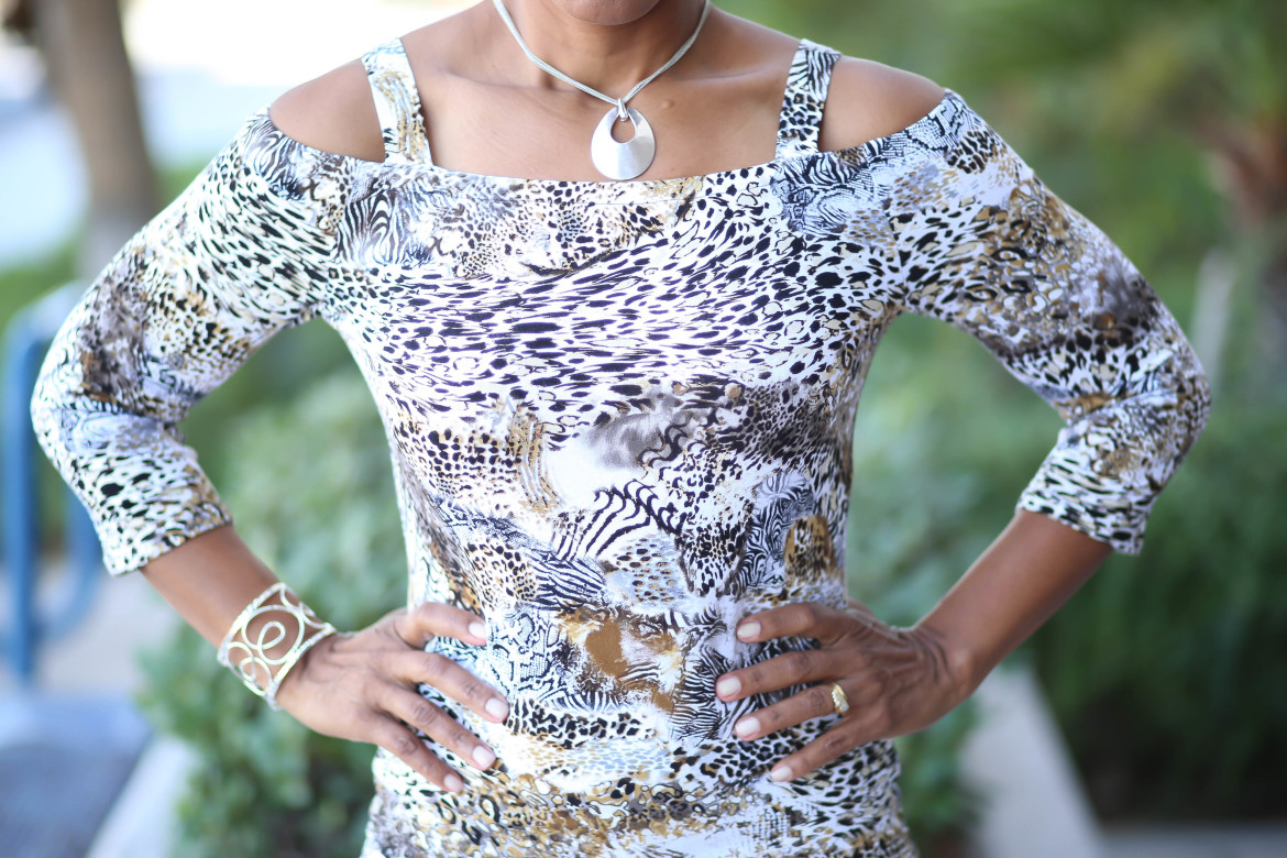 Baring Shoulders with Animal Prints